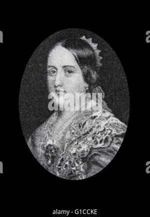 Portrait of Queen Maria II of Portugal (1819-1853) was Queen regnant of the Kingdom of Portugal and the Algarves. - Stock Photo