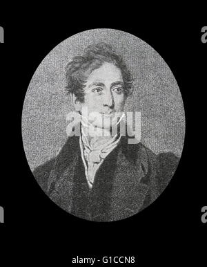 Portrait of Sir Robert Peel, 2nd Baronet (1788-1850) a British statesman and member of the Conservative Party, who - Stock Photo