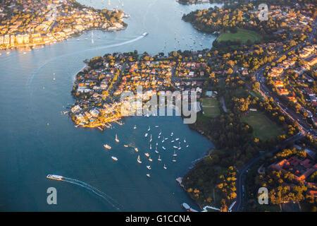 Aerial view of suburbs in Sydney, Australia - Stock Photo