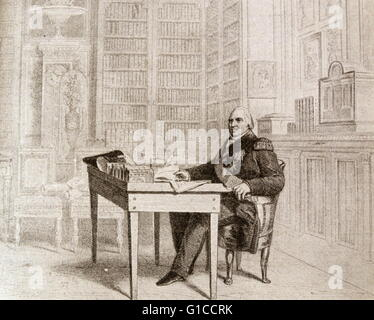 Illustration of King Louis XVIII of France (1755-1824) drawing up the 'Charta' at St. Ouen. Dated 19th Century - Stock Photo