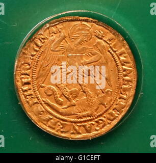 Elizabeth I Angel Coin. Dated 16th Century - Stock Photo