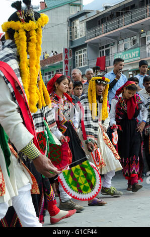 Traditional Kullu valley folk dancers, main square, The Mall, Manali, Himachal Pradesh, India, - Stock Photo