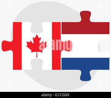 Vector Image - Canada and Netherlands Flags in puzzle isolated on white background - Stock Photo