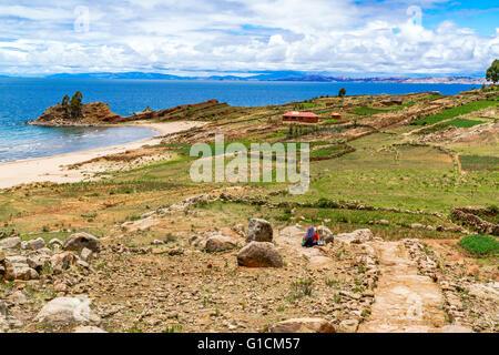Landscape of Taquile Island in Lake Titicaca near City of Puno, Peru - Stock Photo
