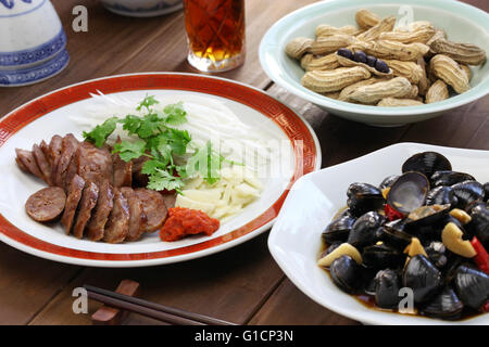 taiwanese pork sausage, marinated river clam,taiwanese food appetizer - Stock Photo