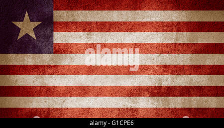 flag of Liberia or Liberian banner on rough pattern background - Stock Photo