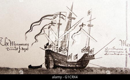Ship of Sir Francis Drake (1540-1596) an English sea captain, privateer, navigator, slaver, and politician of the - Stock Photo