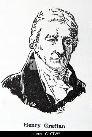 Henry Grattan (1746 – 1820) Irish politician and member of the Irish House of Commons and a campaigner for legislative - Stock Photo