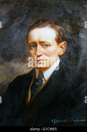 Coloured portrait of Guglielmo Marconi, 1st Marquis of Marconi (1874-1937) an Italian inventor and electrical engineer, - Stock Photo