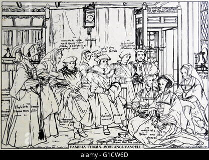 Engraving depicting the noble family of Sir Thomas More (1478-1535) an English lawyer, social philosopher, author, - Stock Photo
