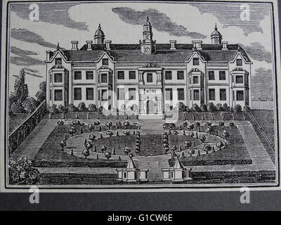 Engraving depicting Beaufort House, previous residence of Sir Thomas More (1478-1535) an English lawyer, social - Stock Photo