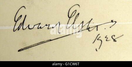 Signature of Sir Edward William Elgar, 1st Baronet (1857-1934) an English composer. Dated 20th Century - Stock Photo