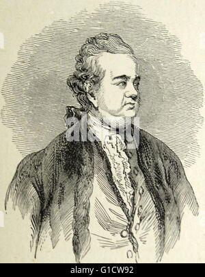 woodcut portrait of Edward Gibbon (1737-1794) an English historian and Member of Parliament. Dated 18th Century - Stock Photo