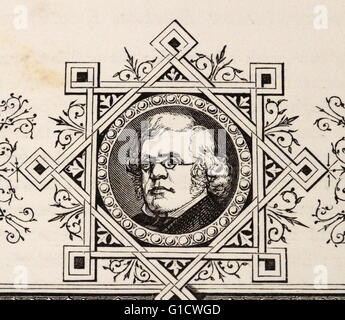 Engraved portrait of William Makepeace Thackeray (1811-1863) an English novelist of the 19th century. Dated 19th - Stock Photo