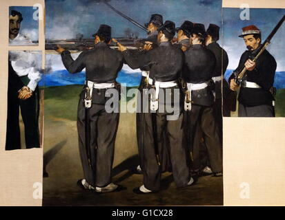 Painting titled 'The Execution of Maximilian' by Édouard Manet (1832-1883) a French painter. Dated 19th Century - Stock Photo