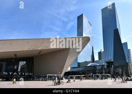 Rotterdam Centraal Station Weena Netherlands ( Delftse Poort  Nationale Nederlanden, RBS Royal Bank of Scotland, - Stock Photo