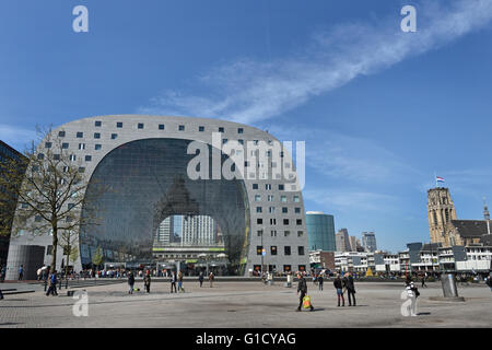 Rotterdamse Markthal (Rotterdam Market hall) at the Blaak square Dutch Netherlands - Stock Photo