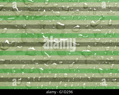 water drops on green, gray metallic surface - Stock Photo