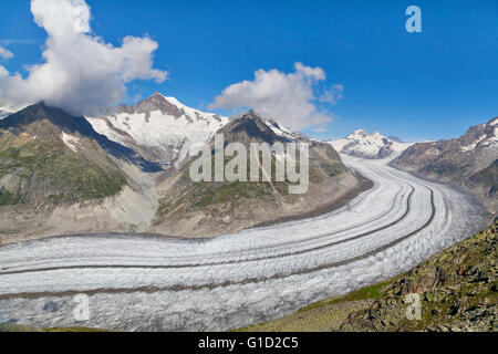 View on Aletsch glacier from Eggishorn mount, Switzerland - Stock Photo