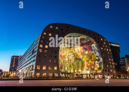 Sunset on the Markthal Building at Rotterdam, Netherlands - Stock Photo
