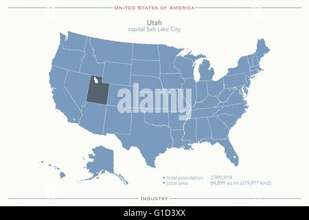 Utah State Political Map Stock Photo 18324285 Alamy - Utah On The Us Map