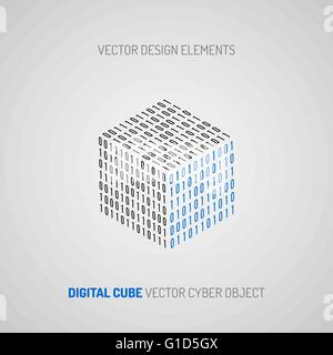Cube created of numbers 1 and 0. Digital technology. Vector design element. - Stock Photo
