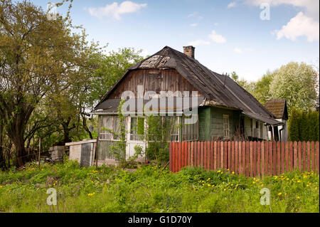 Decrepit house in Kazimierz Dolny, Poland, Europe, lorn private property exterior in natural scenery, dilapidated - Stock Photo