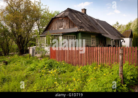 Falling house in Kazimierz Dolny, Poland, Europe, forlorn private property exterior in natural scenery, dilapidated - Stock Photo