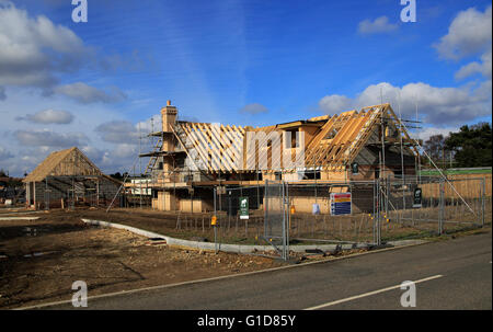 New detached house under construction, Hollesley, Suffolk, Suffolk, England, UK - Stock Photo
