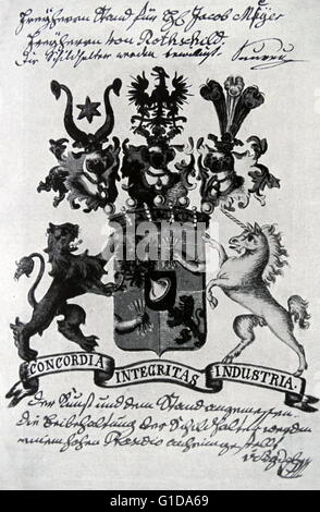 Family crest of the Rothschild banking family. The Rothschild's were a family financial dynasty in the 18th to 20th - Stock Photo