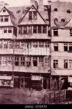 Rothschild family ancestral home in Frankfurt, Germany, circa 1880 - Stock Photo