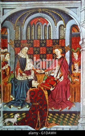 Henry VI and Margaret of Anjou with their courtiers. John Talbot, Earl of Shrewsbury kneels before the Queen to - Stock Photo