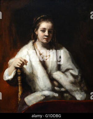 Portrait of Hendrickje Stoffels (1626-1663) the long-time lover of Rembrandt. Painted by Rembrandt Harmenszoon van - Stock Photo