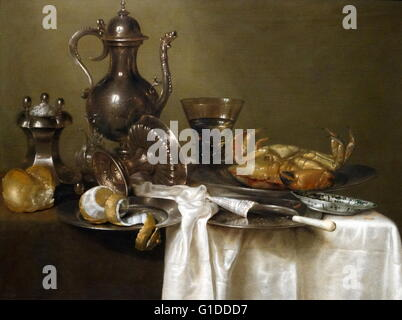 Painting titled 'Still Life: Pewter and Silver Vessels and a Crab' by Willem Claesz. Heda (1594-1680) a Dutch Golden - Stock Photo