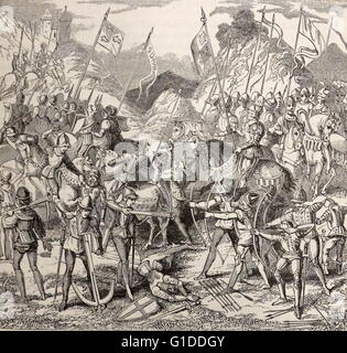 Engraving depicting a scene from the Battle of Hastings