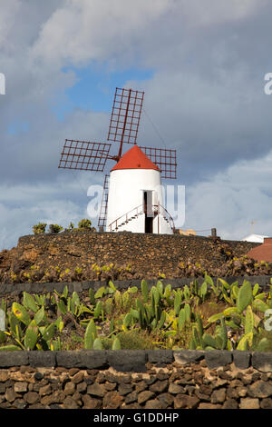 windmill at jardin de cactus designed by csar manrique guatiza lanzarote canary islands