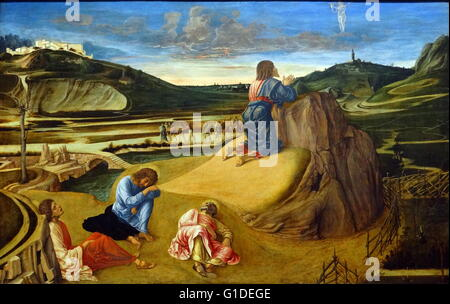 Painting titled 'The Agony in the Garden' by Giovanni Bellini (1430-1516) an Italian Renaissance painter. Dated - Stock Photo