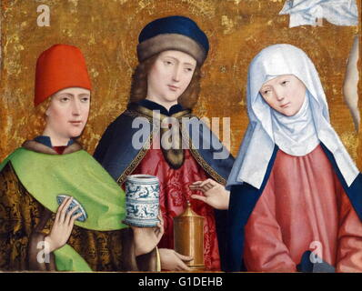 Painting titled 'Saints Cosmas and Damian and the Virgin' by Master of Liesborn, a Westphalian painter. Dated 15th - Stock Photo