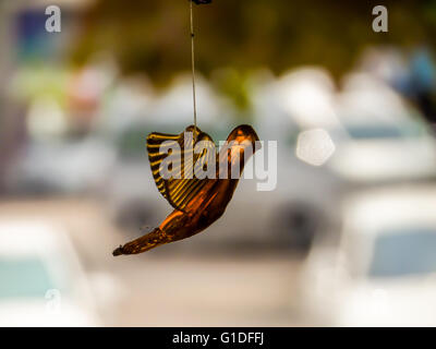 Bird a moblie decoration made of small objects tied to wires or string and hung up so that the objects move when - Stock Photo