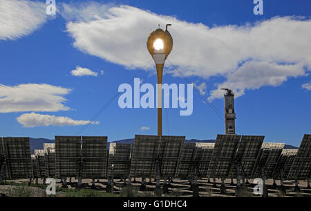 Heliostats reflect sunrays to receiver tower, solar energy scientific research centre, Tabernas, Almeria, Spain - Stock Photo