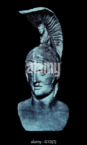 Roman God of war Mars (Ares) , head of Roman statue 3rd-4th century AD; Munich - Stock Photo