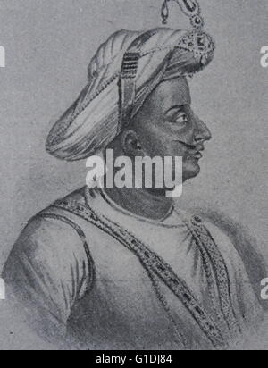 Tipu Sultan (1750 – 1799), known as the Tiger of Mysore, and Tipu Sahib. Ruler of the Kingdom of Mysore. Tipu wrote - Stock Photo