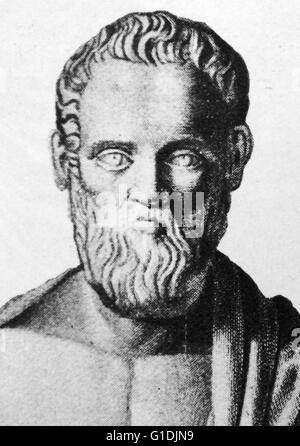 Bust of Isocrates (436-338 BC), an ancient Greek rhetorician, was one of the ten Attic orators - Stock Photo