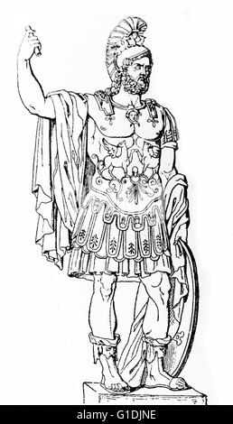 Illustration of Pyrrhus of Epirus (318-272 BC) a Greek general and statesman of the Hellenistic period. He was king - Stock Photo
