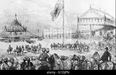 Proclamation of Queen Victoria, Empress of India (1819-1901) Queen of England, in Delhi. Dated 1877 - Stock Photo