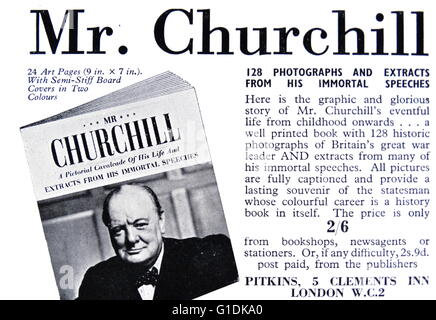 Advert for Winston Churchill memorabilia. Winston Churchill (1874-1965) a British statesman who was the Prime Minister - Stock Photo