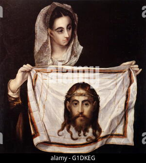 Painting titled 'Saint Veronica' by El Greco (1541-1614) a painter, sculptor and architect of the Spanish Renaissance. - Stock Photo