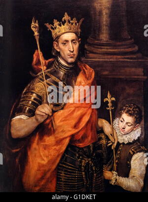 Painting titled 'Saint Louis, King of France' by El Greco - Stock Photo