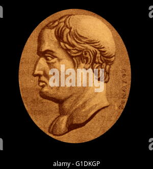 Engraving of Gaius Maecenas (68-8 BC) an ally, friend and political advisor to Octavian. - Stock Photo