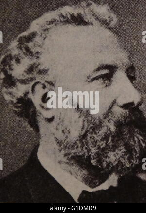 Photographic portrait of Jules Gabriel Verne (1828-1905) a French writer of popular fiction and children's books. - Stock Photo